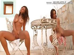 Two russian schoolgirls naked outdoor