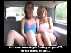 Lesbian babes and sexy hitchhiker talking and flashing panties in car