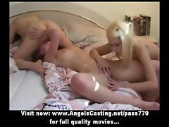 Lesbian cuties in threesome in 69 and toying and licking pussy