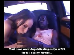 Awesome brunette does blowjob for afro guy in car and is fucked hard