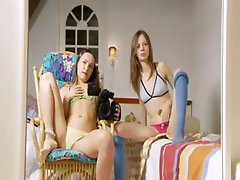 Two skinny girls opening cunts