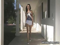 Super sexy brunette babe walks outdoor part5