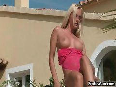 Amazing blonde gets naked and shows her part6