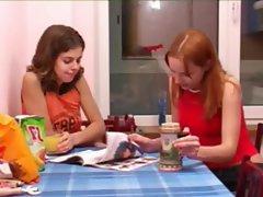 Masha and Ivana coeds peeing on toilet