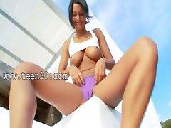 breasty babe peeing through panties