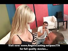 Sexy blonde fucking and doing blowjob for boyfriend and camera guy
