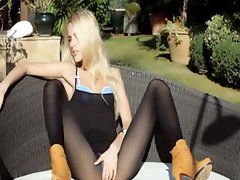 Incredible blonde in shoes undressing