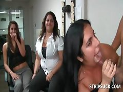 Bitches blowing stripper's shaft at orgy
