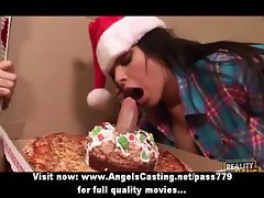Badass brunette does blowjob and rides cock for guy with pizza