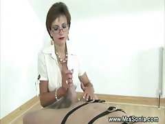 Blowjob from mistress for servant
