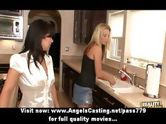 Amazingly sexy busty lesbians undressing and licking pussy in the kitchen