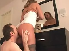 Cuckold rims his mistress while she puts makeup on