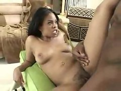 Big black cock in her tight black pussy