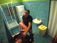 Couple banging in bathroom voyeur video