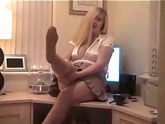 Office tease with pantyhose beauty