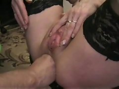 Amateur in stockings fisted up the rear