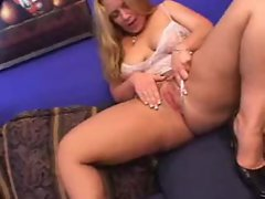 Blonde with big booty loves black guy inside her