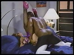Hot white porn slut taken by black dude in classic scene