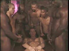 Gay interracial gangbang with white boy taking cock