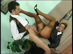 Fat young cock fucking her milf ass after foreplay