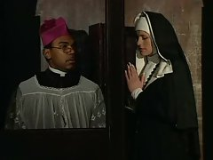 Slutty nun fucked in both of her holes