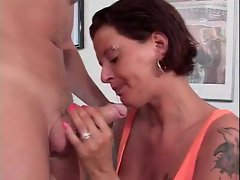 Spit everywhere as she gives deepthroat BJ
