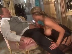 Big tits beauty in hot stockings riding