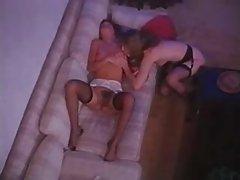 Retro porn threesome with virginal sluts boned
