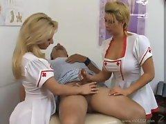 Hot and busty nurses give a handjob