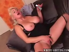 Elegant mature slut in stockings hammered