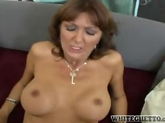 Milf sits on dick with big ass facing camera