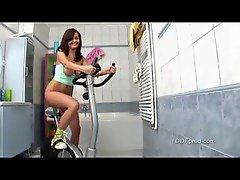 Sexy chick riding a dildo bike