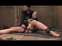 Sexy girl is chained up and forced to orgasm