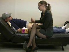 Pantyhose Boss Handjob