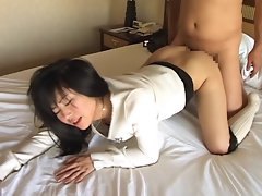 Cute Japanese girl does doggy and rides cock