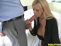 Busty blonde MILF boss works a meatstick