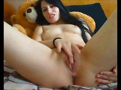 Double dildo masturbation on webcam
