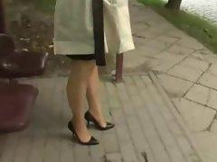 cumming in co-workers high heels