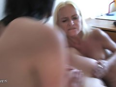 Three horny mature mothers share one hard strapping dude