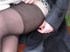 Girl check her stockings 2