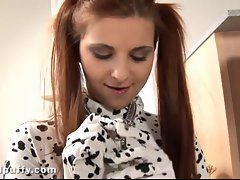 Hot girl behaves like a puppy