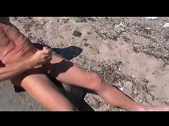 Gay Henndrik Solo Beach naked cum on Stone