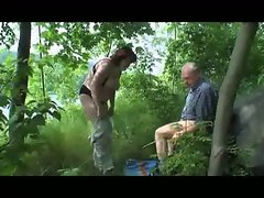 Grandpa and gramma fuck in forest