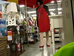 crossdresser in the supermarket