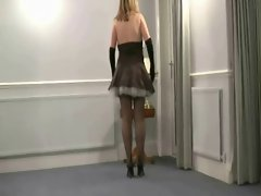 French Maid in seamed stockings provides hand relief service