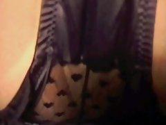 Denim Miniskirt Black Satin Panties