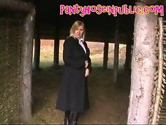 English Slag In Pantyhose And Leather Boots Goes For A Walk