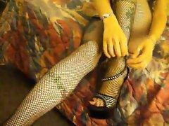 Fishnets foot tease