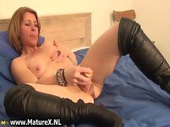 Hot skinny mom laying