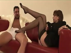 Watch this mature hottie in stockings